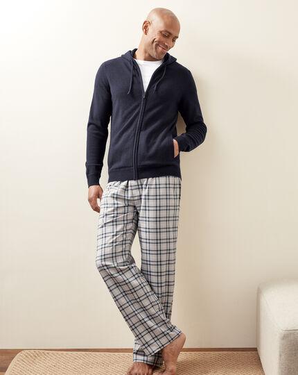 Check Pajama Bottoms - Grey & Navy