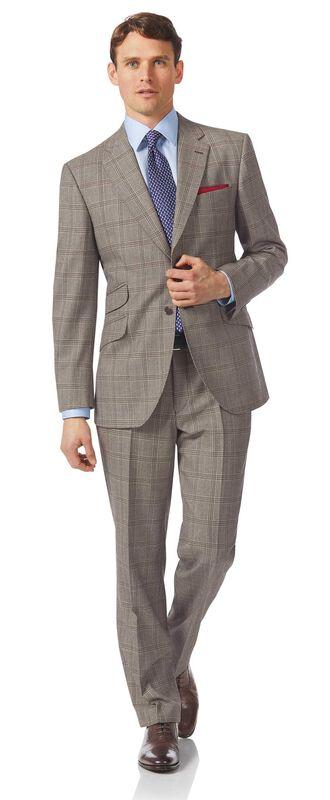 Luxuriöser britischer Anzug Classic Fit Prince-of-Wales-Karos Grau