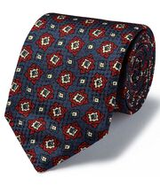 Navy and red geo multi print textured English luxury tie