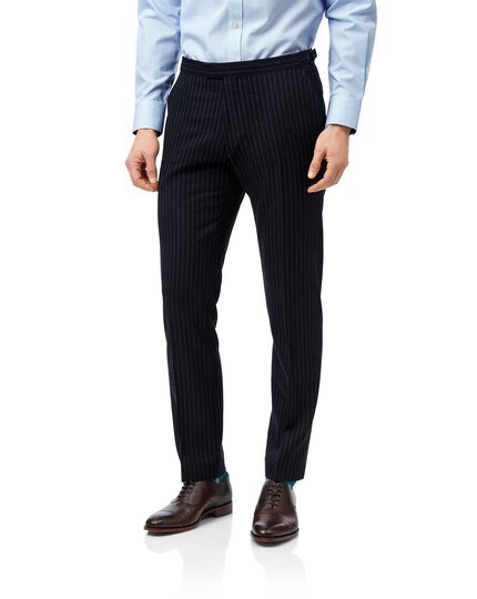 Navy stripe slim fit British luxury suit