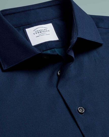 Super slim fit micro diamond blue shirt
