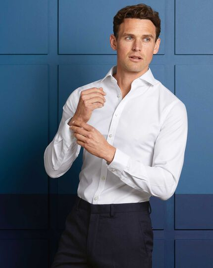 Super slim fit white non-iron twill cutaway collar shirt