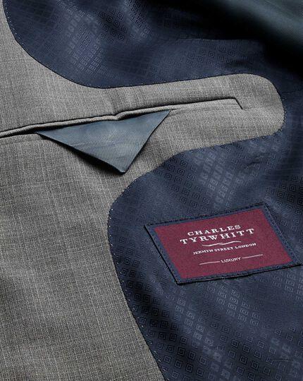 Silver classic fit cross hatch weave italian suit jacket