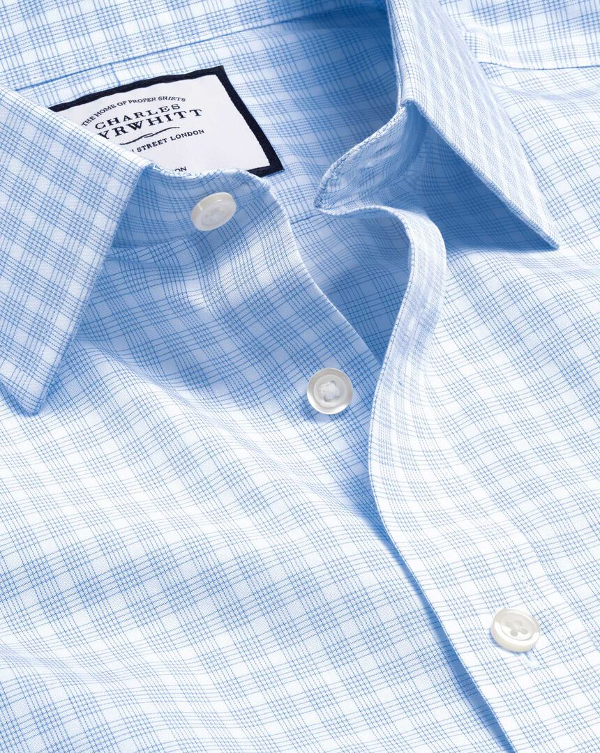Bügelfreies Popeline-Hemd mit Karos - Himmelblau