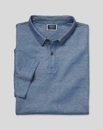 Cotton TENCEL™ Mix Jacquard Polo - Blue