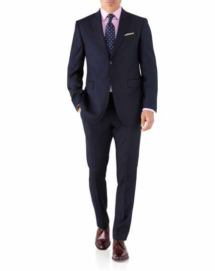Navy classic fit peak lapel twill business suit