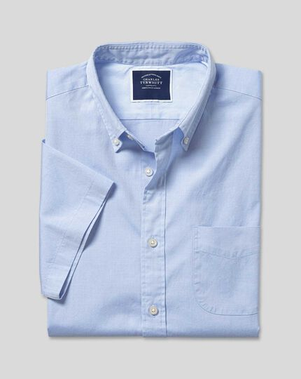 Button-Down Collar Washed Oxford Short Sleeve Shirt - Sky