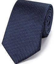 Cravate classique bleu marine en soie partiellement unie à micro pois