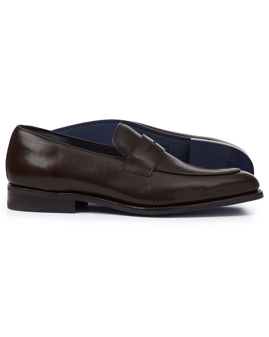 Brown Goodyear welted performance saddle loafers