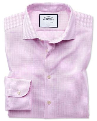 Classic fit business casual non-iron modern textures pink shirt
