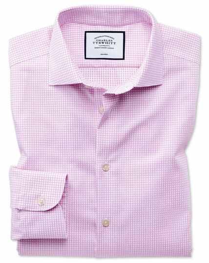 Business-Casual bügelfreies Slim Fit Hemd mit modernen Strukturen in Rosa