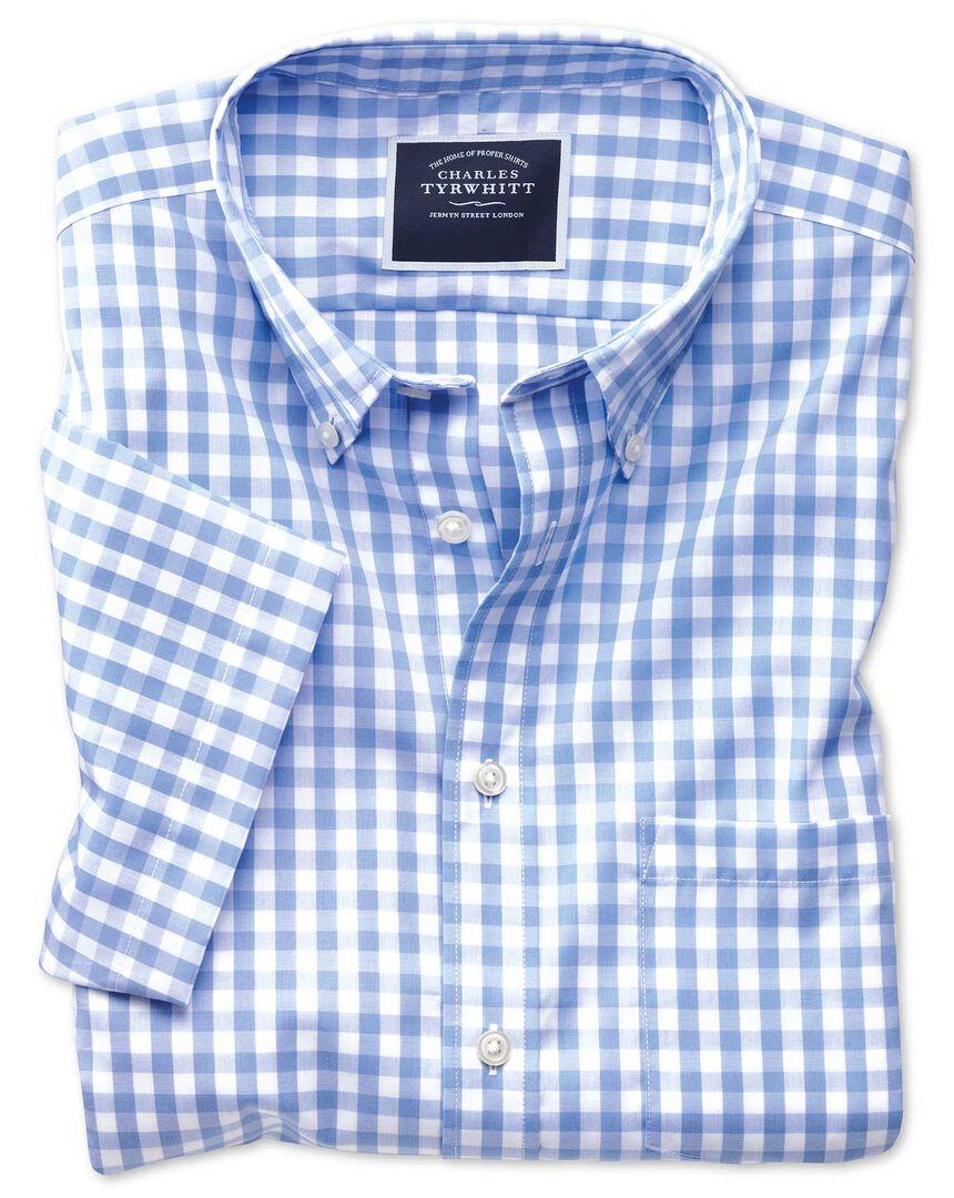 Slim fit non-iron sky blue gingham short sleeve shirt