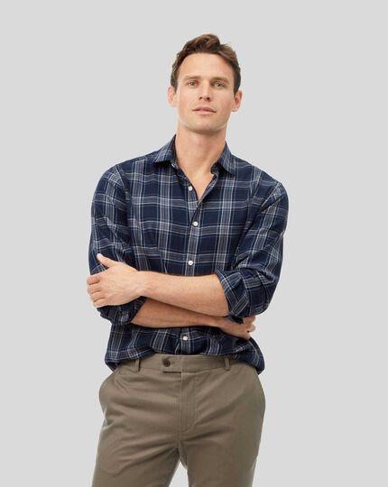 Ganzjährig tragbares strukturiertes Hemd mit Kent Kragen und Karos - Marineblau & Grau