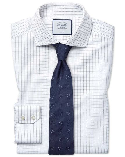 Extra slim fit non-iron spread collar cotton stretch Oxford blue and white check shirt