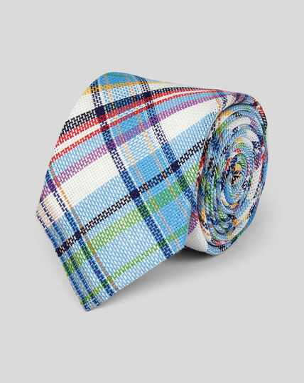 Check Linen Italian Craft Luxury Tie - Sky Multi