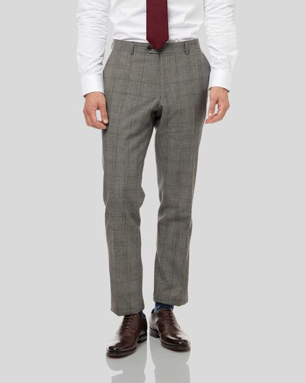 Prince of Wales Check Suit Pants - Grey & Burgundy