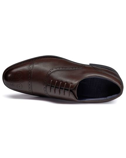 Chocolate Goodyear welted Oxford brogue performance shoe