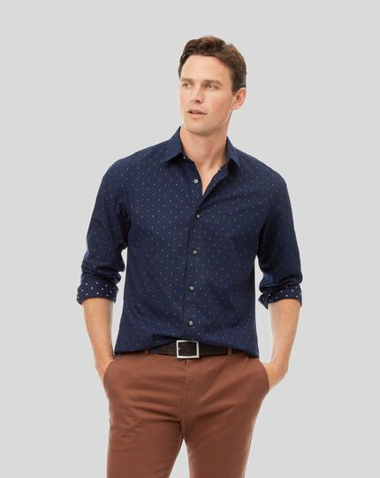 Classic Collar Textured Shirt - Navy