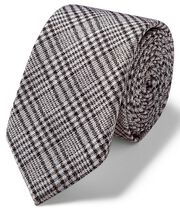 Grey Prince of Wales check slim tie