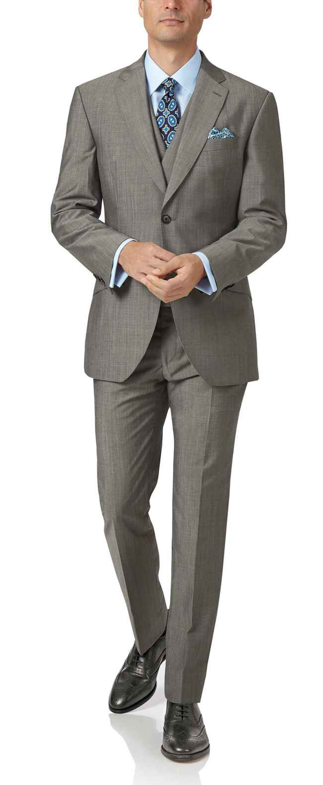 Grey slim fit Italian wool luxury suit