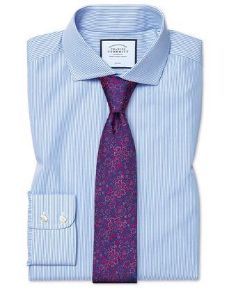 Chemise bleu ciel sans repassage slim fit avec rayures Bengale et col cutaway