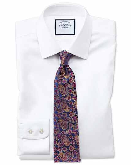 Slim fit non-iron step weave white shirt