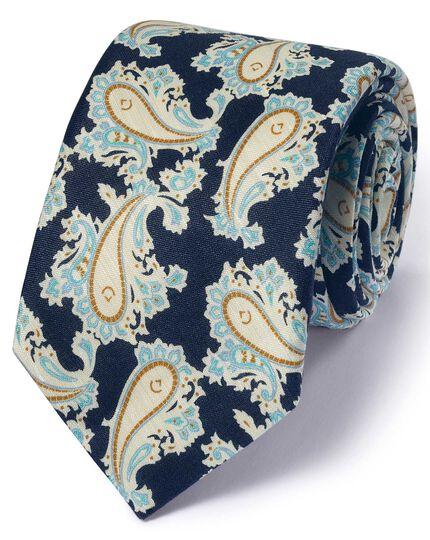 Navy cotton mix printed paisley Italian luxury tie