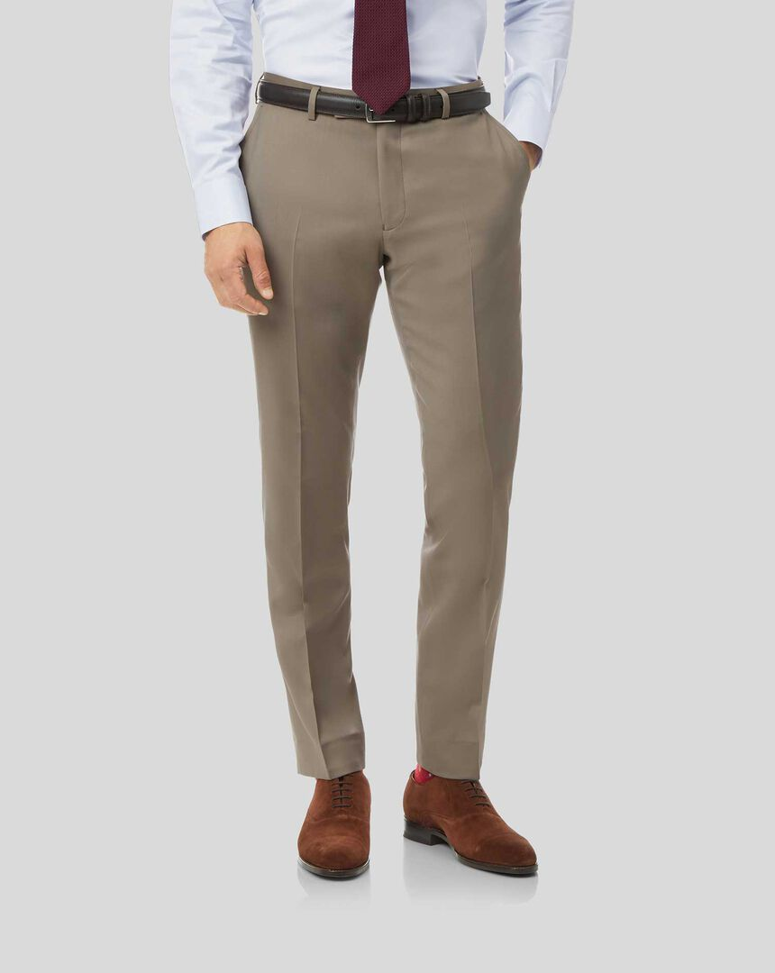 Natural Stretch Italian Suit Pants - Stone