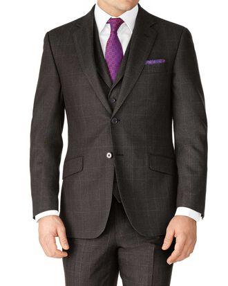 Dark grey slim fit saxony business suit jacket