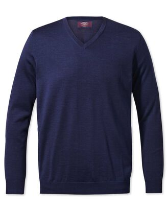 Blue v-neck merino-silk jumper