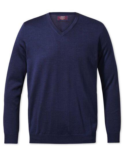Blue v-neck merino-silk sweater
