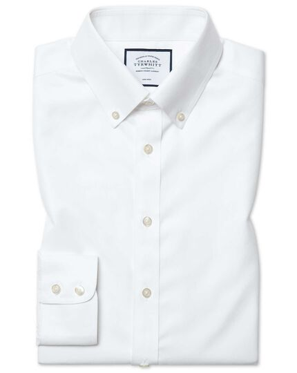 Slim fit white button-down non-iron twill shirt
