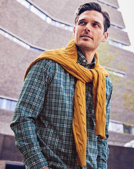 Vorgewaschenes Slim Fit Popeline-Hemd aus Stretchgewebe mit Karos Aquamarin & Burgunderrot