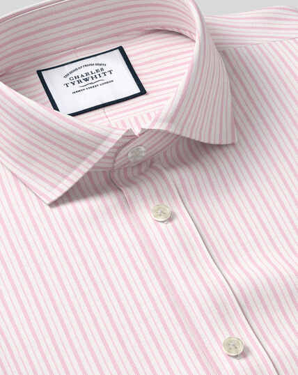 Spread Collar Stretch With TENCEL™ Stripe Shirt- Pink