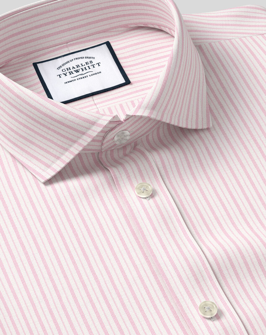 Spread Collar Stretch With TENCEL™ Stripe Shirt- Pink