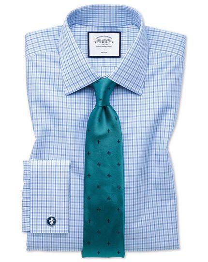 Teal and navy stain resistant Fleur-de-Lys classic tie