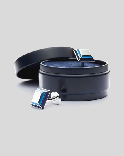 Enamel Angular Square Cufflinks - Blue
