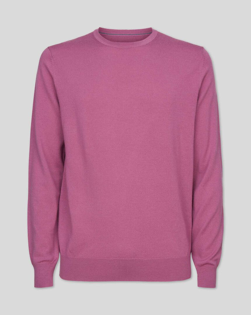 Merino Crew Neck Sweater - Light Pink