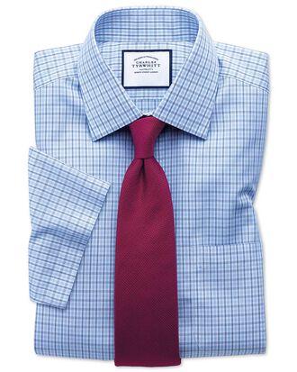 Bügelfreies Classic Fit Kurzarmhemd aus Popeline in Blau und Himmelblau