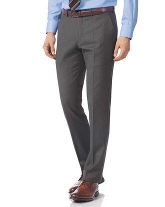 Grey slim fit Italian twill luxury suit trousers