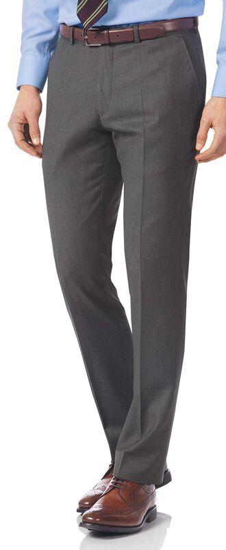 Pantalon de costume de luxe gris en twill italien slim fit