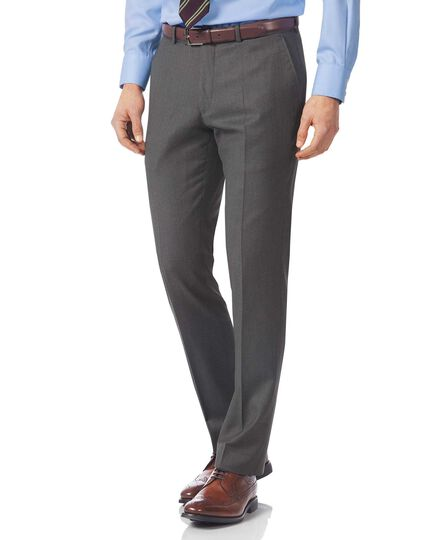Grey slim fit Italian twill luxury suit trousers
