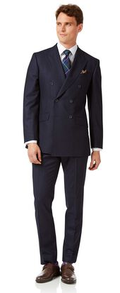 Navy stripe slim fit double breasted flannel business suit