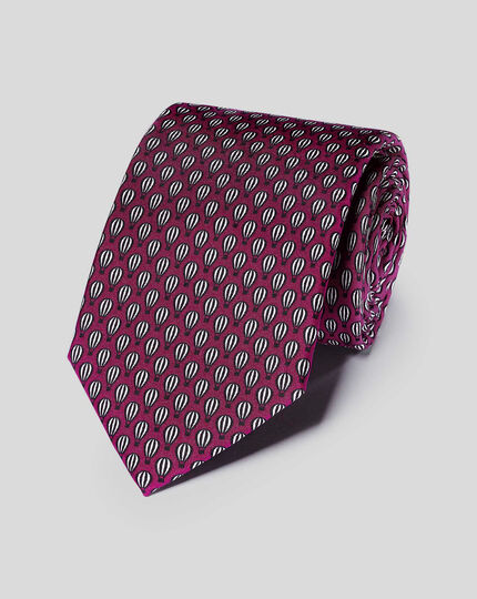 Hot Air Balloon Silk Print Classic Tie - Berry