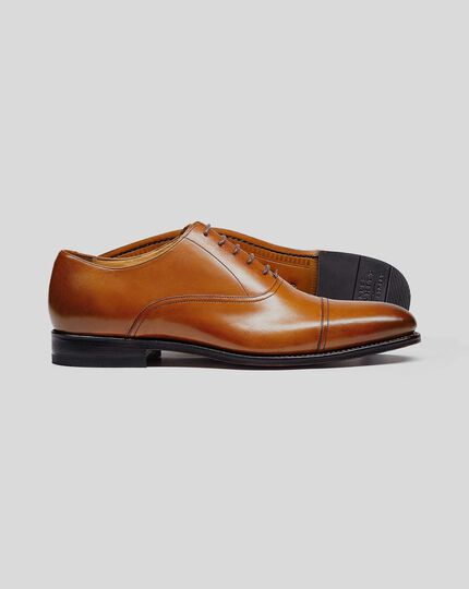 Goodyear Welted Oxford Toe Cap Shoe - Tan