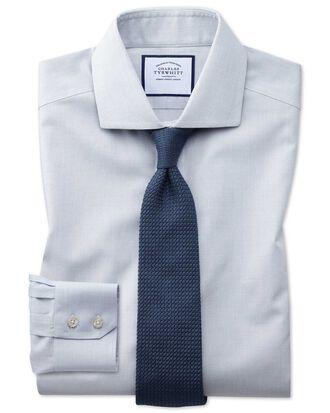 Bügelfreies Extra Slim Fit Hemd mit Haifischkragen und Hahnentrittmuster in Grau