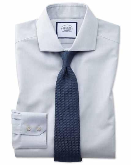 Extra slim fit non-iron cutaway collar grey puppytooth shirt