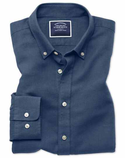 Slim fit dark blue cotton linen twill shirt