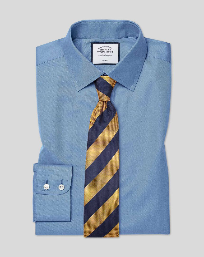 Bügelfreies Twill Hemd mit klassischem Kragen - Blau