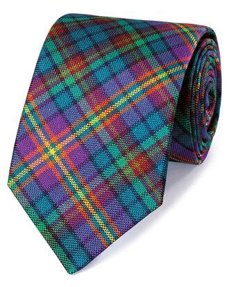 Cravate de luxe violette et verte en soie anglaise à carreaux multicolores